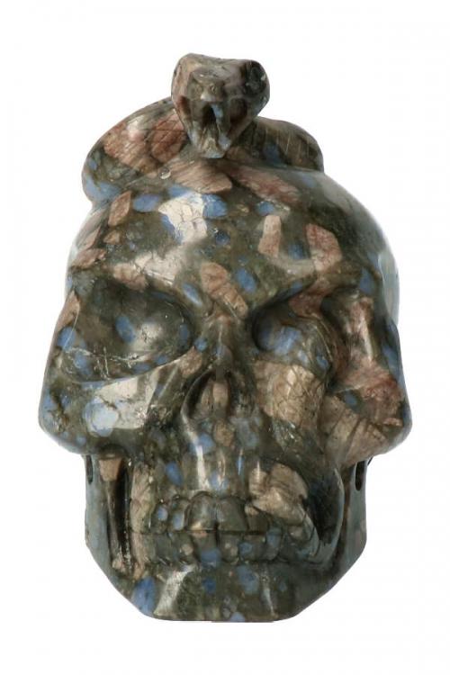 Que Sera slangen kundalini schedel, snake skull, crystal skull, kopen, kristallen schedel