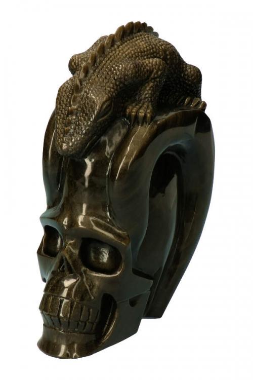 Goud Obsidiaan schedel met leguaan, goud obsidiaan kristallen schedel, gold obsidian crystal skull, goud obsidiaan, gouden obsidiaan schedel, kopen,