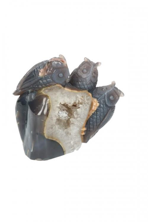 Bergkristal met Agaat uilen, Agaat geode uilen, owl, animal, dieren, edelsteen, edelstenen, carving, beeld, kristallen, kopen