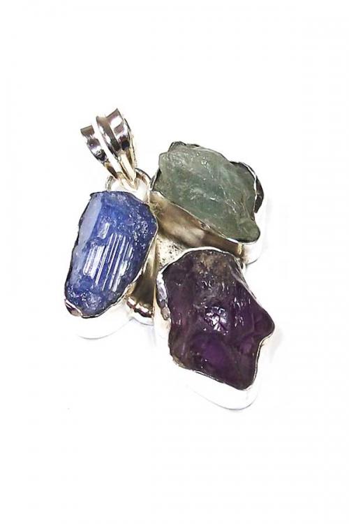 Tanzaniet, Amethist en Aquamarijn zilveren hanger, 925 sterling, tanzanite, tanzaniet kopen, sieraad, sieraden, aquamarine, amethyst, juweel, juwelen, edelstenen, edelsteen,