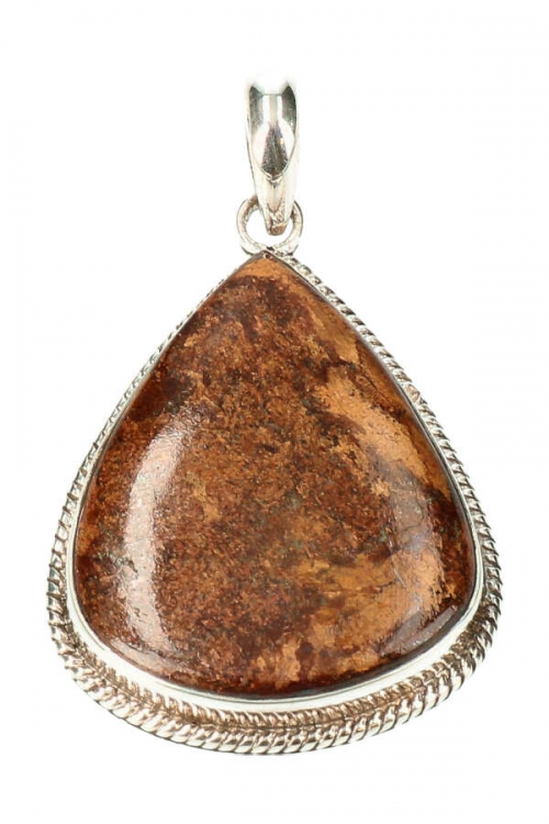bronziet zilveren hanger, bronzite, 925 sterling, sieraad, sieraden, edelsteen, edelstenen, kopen, pendant, druppel vorm