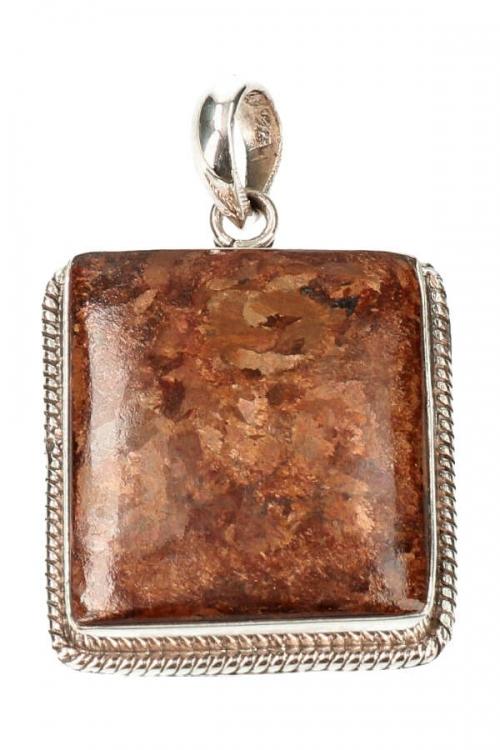 bronziet zilveren hanger, bronzite, 925 sterling, sieraad, sieraden, edelsteen, edelstenen, kopen, pendant