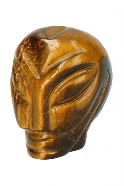 Tijgeroog alien kristallen schedel, 4.5 cm, tijger eye crystal alien skull, kopen