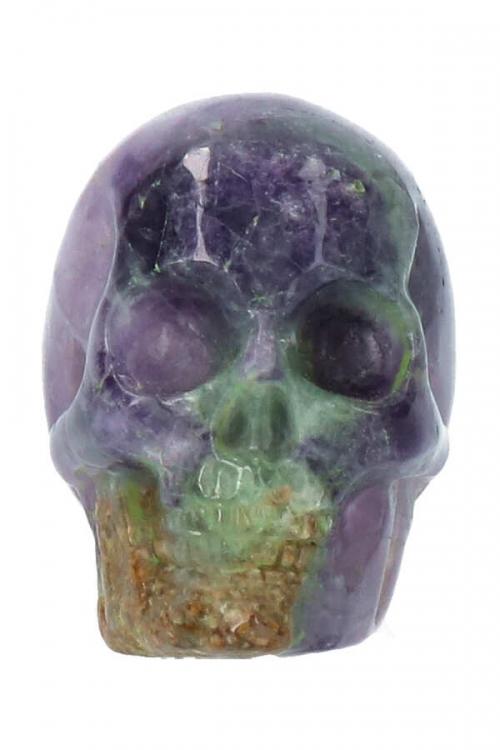 Regenboog Fluoriet kristallen schedel, fluorite crystal skull, kopen, schedeltje, rainbow fluorite, paars, groen