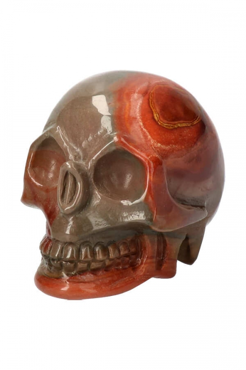 Polychroom jaspis kristallen schedel, 10 cm, polychrome jasper, crystal skull, schedel, kopen