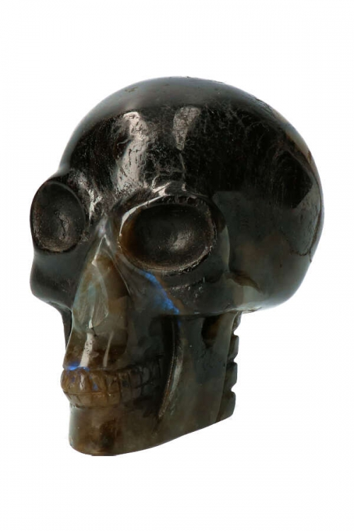 Zwarte Toermalijn met Labradoriet alien kristallen schedel, alien crystal skulkl, kopen, edelsteen alien, stenen, steen, kopen