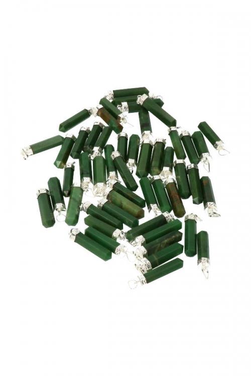 Jade punt hanger verzilverd, jade hanger, pendant, edelstenen, edelsteen, juwelen, sieraad, sieraden