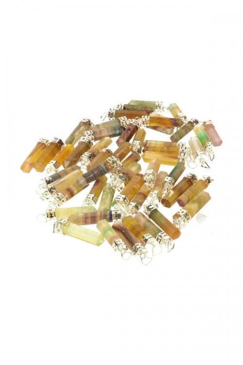 Regenboog Fluoriet punt hanger, verzilverd, fluorite, rainbow, edelsteenhanger, pendant,fluoriet kopen,