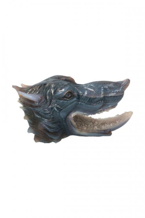 Agaat geode wolf, top carving, edelsteen wolf, wulf, gemstone, edelstenen, kristallen, kristal, kopen, wolfen kop, wolfen hoofd, collector