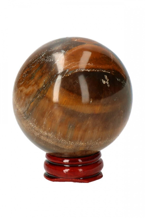 Tijgeroog edelsteen bol, stenen bol, edelsteen bol, edeslteenbol, edelstenenbol, edelstenen bol, tijgeroog, standaard, rozenhout, kopen, Tijgeroog bol