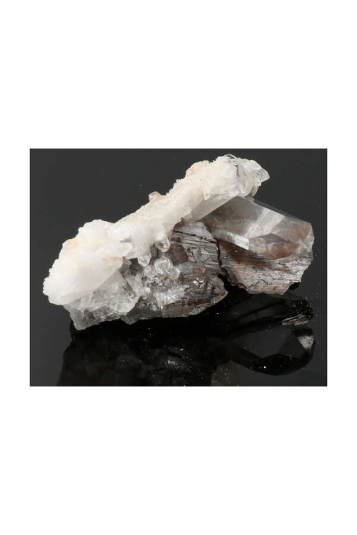 Brookietfantoom in fadenkwarts, brookietfantoom, brookiet, brookite, kopen, ruw, bergkristal, natuurlijke punt