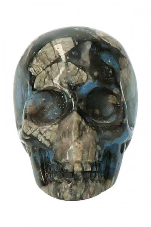 Que Sera kristallen schedel, 5 cm, preseli bluestone, bluespot jasper, crystal skull, edelstenen, edelsteen, kopen, kristallen schedel, skull,