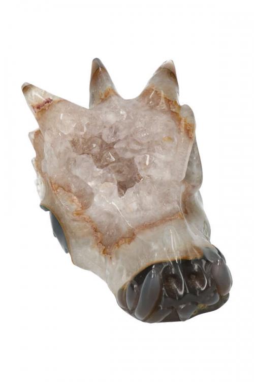 Golden Healer geode kristallen drakenschedel, dragon crystal skull, edelsteen draak, draken schedel, draak, kopen,