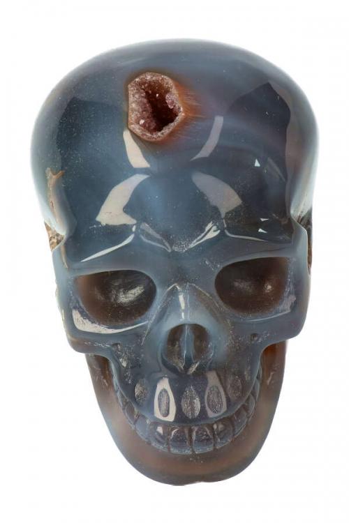 Bergkristal met Golden Healer en Agaat kristallen geode schedel, Agaat met Bergkristal Geode kristallen schedel, kopen, clear quartz, crystal skull, kristallen schedel