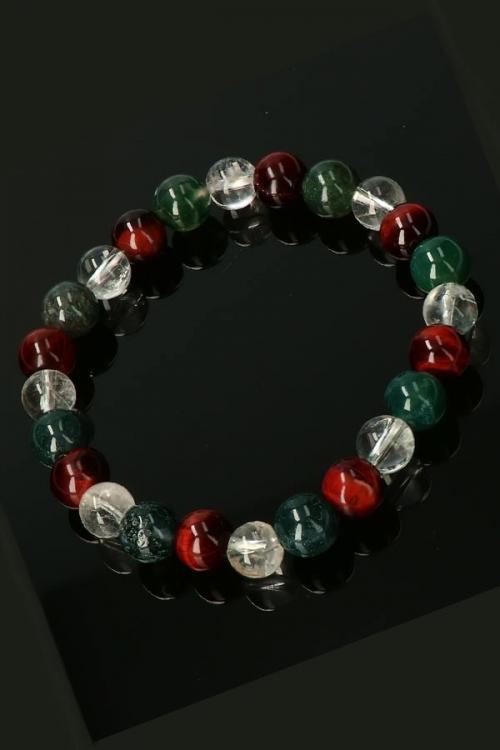 Aardende armband, 8 mm kralen, Rode Tijgeroog, Mosagaat en Bergkristal, 19 cm, earthing bracelet, stenen, edelsteen, edelstenen, kopen, sieraden, sieraad