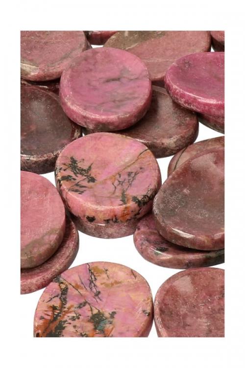 Rhodoniet duimstenen, rhodonite worry stone, stress steen, knuffelsteen, zaksteen, kopen, edelsteen, duimsteen, rhodoniet duimstenen