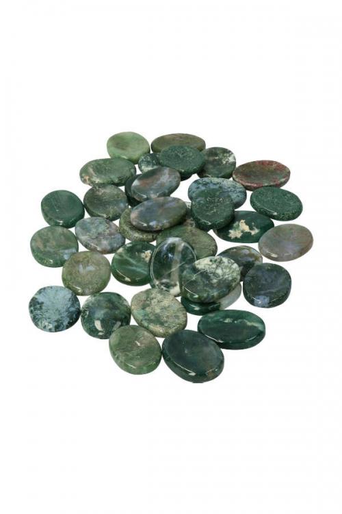 mosagaat duimsteen, mosagaat duimstenen, worry stone, worrys tones, moss agate, kopen, edelsteen, edelstenen, zaksteen, stress steen, knuffelsteen