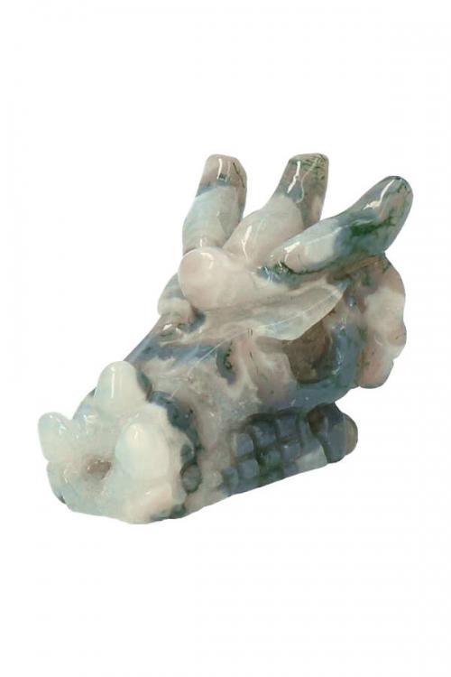 mos agaat kristallen drakenschedel, 7.5 cm, dragon skull, crystal dragon