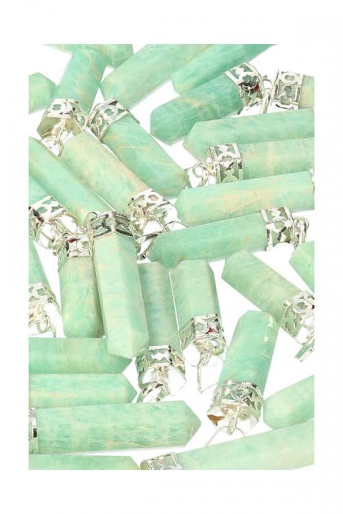 Amazoniet punt hanger verzilverd, ketting, sieraden, juwelen, juweel, kopen, amazonite, pendant