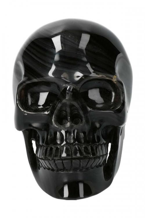 IJs Obsidiaan met Regenboog Obsidiaan realistische kristallen schedel, 12.5 cm x 8 cm x 10 cm, 1.38 kg