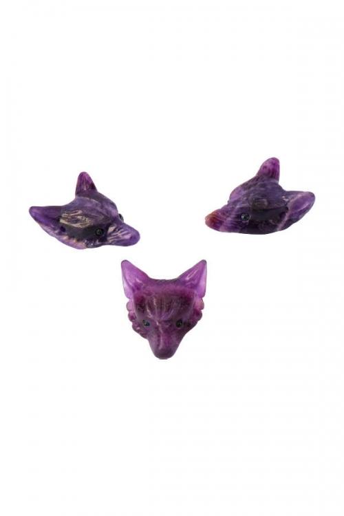 wolf hanger, wolvenhanger, edelsteen hanger, wulf, ketting, pendant, kopenwolvenkop, hoofd, paarse fluoriet wolf hanger, purple fluorite