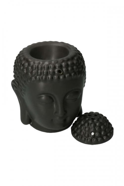 Oliebrander Boedha zwart, ook voor kegel wierook en resin, oil burner, olie geur, resin brander, kegel wierook, houder, wierook houder, buddha, kopen