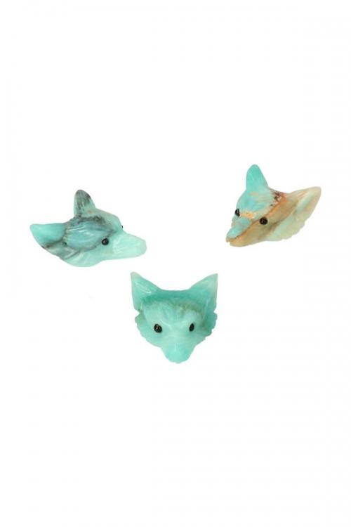 Amazoniet Wolfhanger, 4 cm, amazonite wolf pendant, wulf, kopen, edelstenen hanger, wolfje, edelsteen wolf